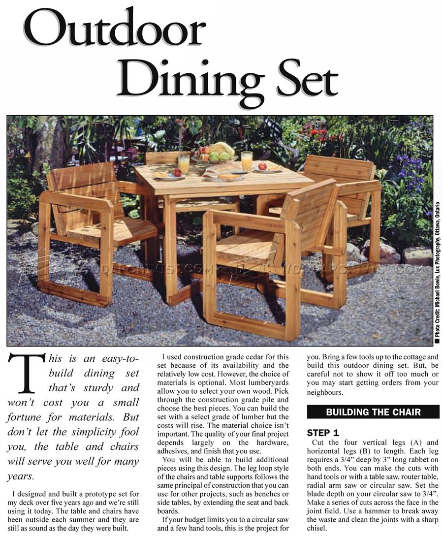 Outdoor Table and Chair Plans