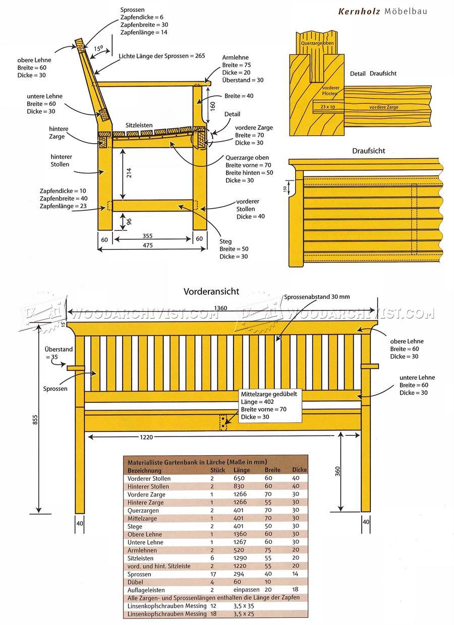 Outdoor Wood Bench Plans • WoodArchivist