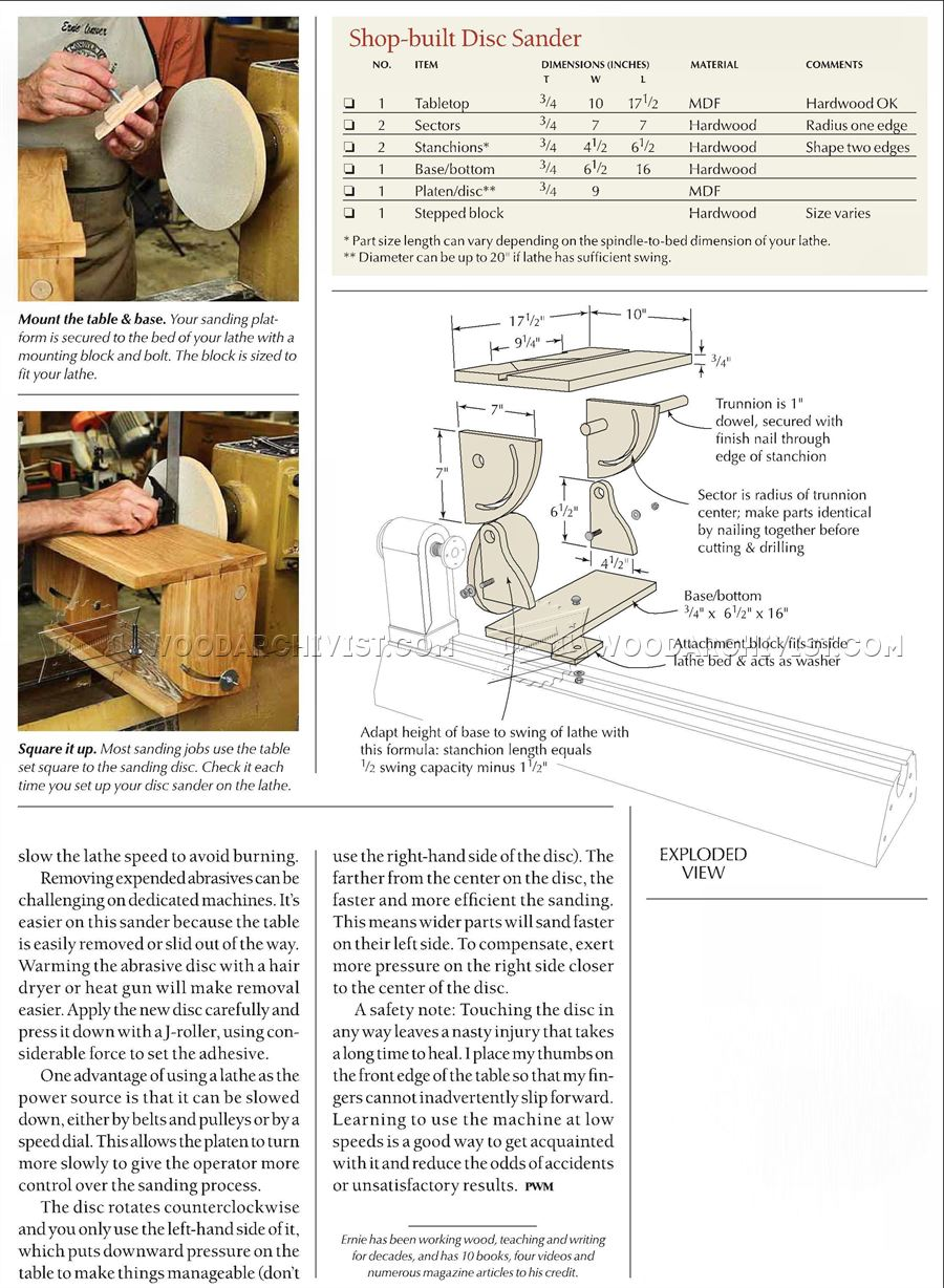 Lathe-Mounted Disk Sander Plans