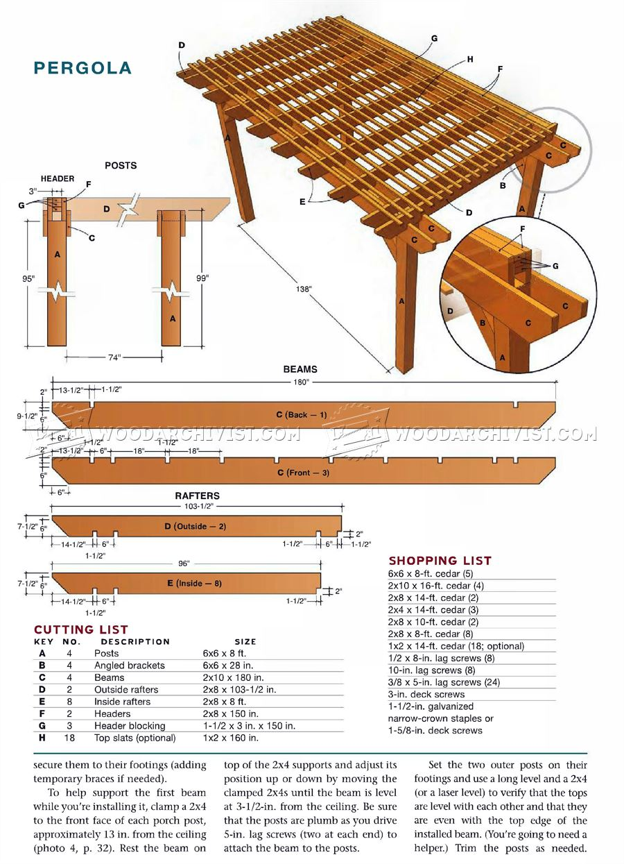 Porch pergola plans woodarchivist for House construction plans