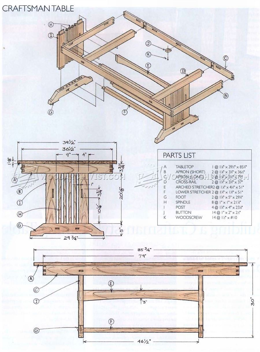 1919 craftsman style dining table plans woodarchivist for Craftsman furniture plans