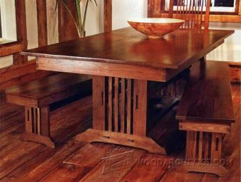 2171 arts and crafts dining table plans woodarchivist for Craftsman style desk plans