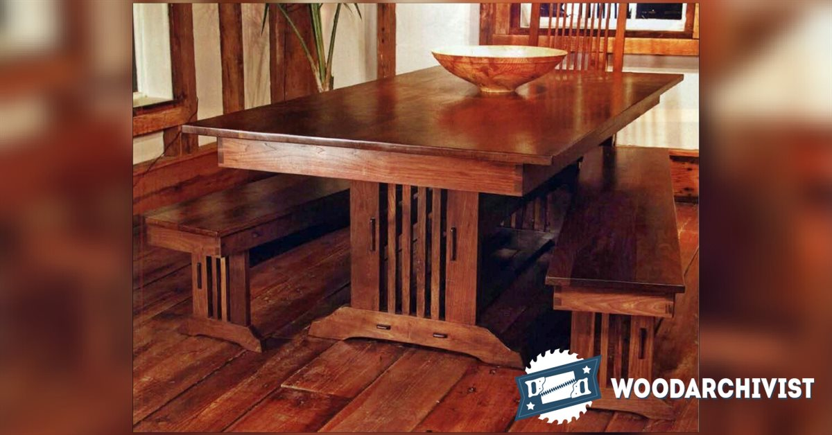 1919 craftsman style dining table plans woodarchivist for Craftsman style desk plans