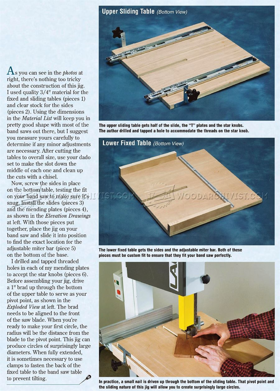 Circle Cutting Band Saw Jig