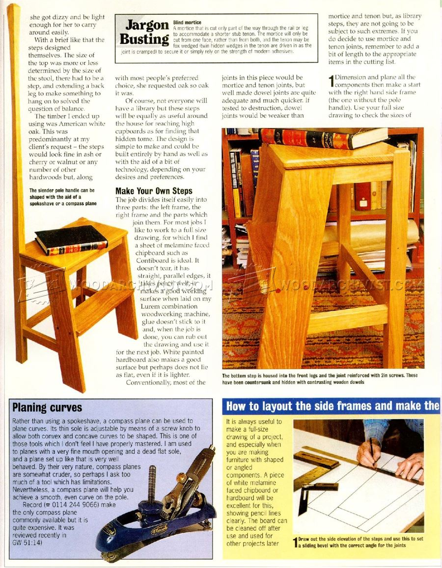 table plans woodworking: Woodworking Plans For Library Steps