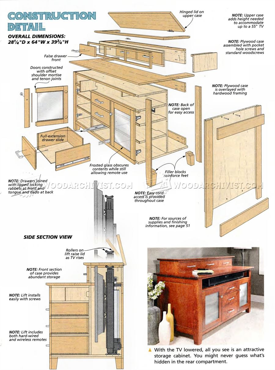 Tv lift cabinet plans image mag Cabinets plans