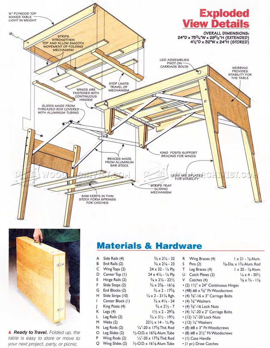 Folding work table plans woodarchivist for Folding table woodworking plans