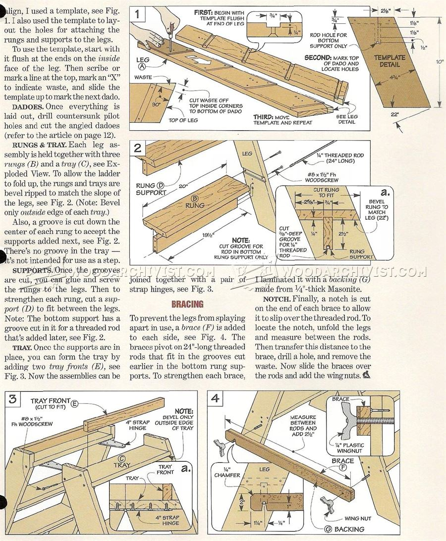Wooden Step Ladder Plans • WoodArchivist