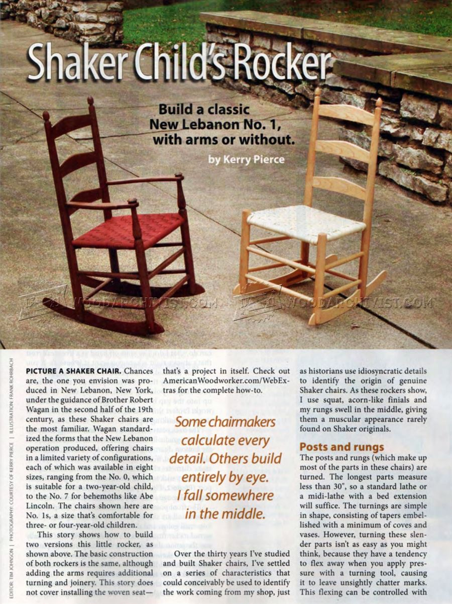 #1968 Childs Shaker Rocking Chair Plans