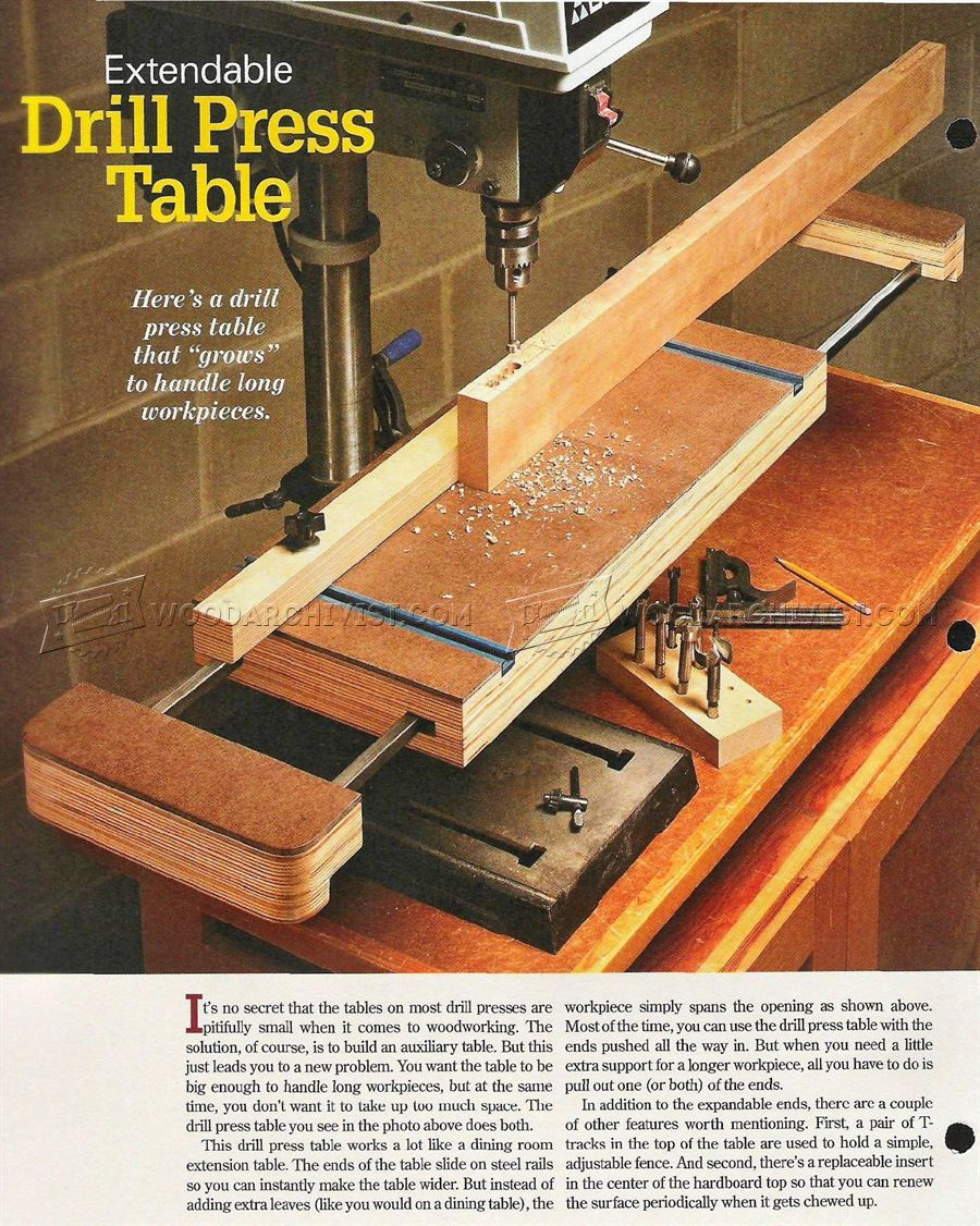 Extendable Drill Press Table Plan
