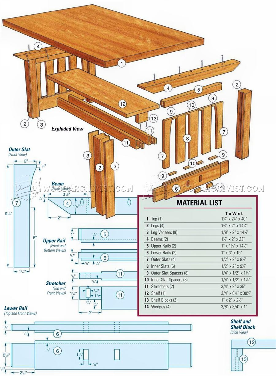 Mission coffee table plans woodarchivist for Craftsman furniture plans