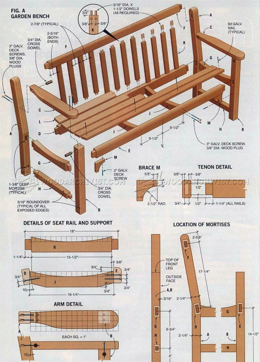 Garden Bench Plans Woodarchivist