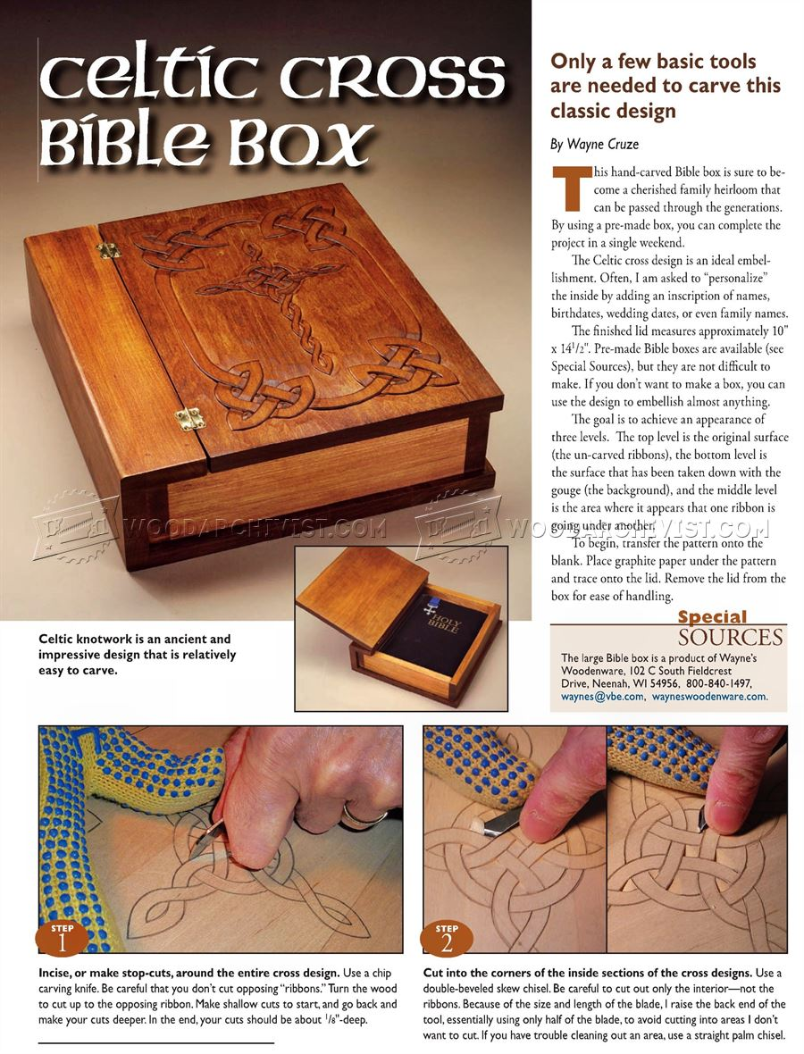Carving Celtic Cross Bible Box Woodarchivist