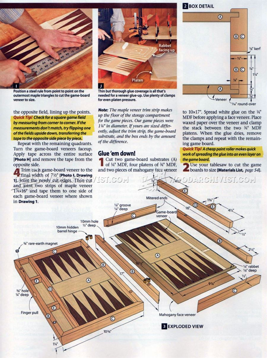 2071 Backgammon Board Plans - Woodworking Plans