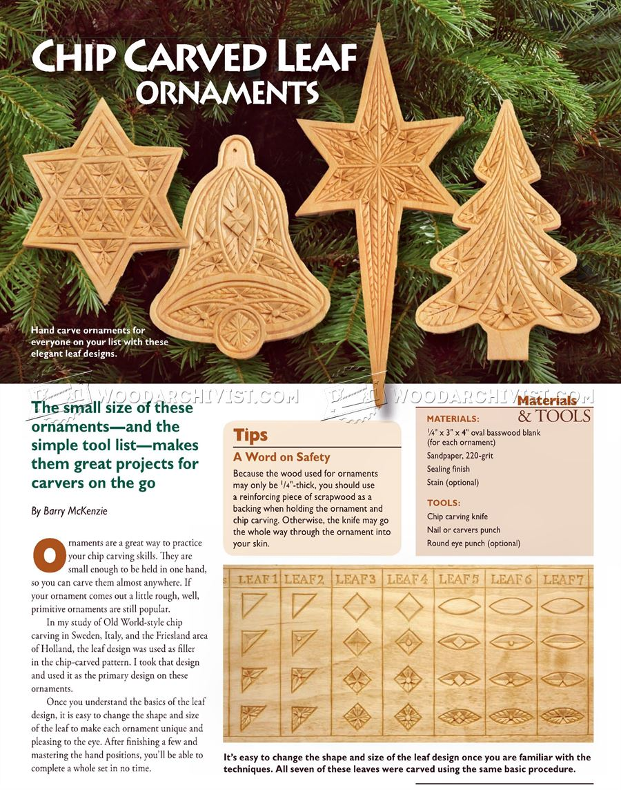 #2075 Chip Carved Leaf Ornaments