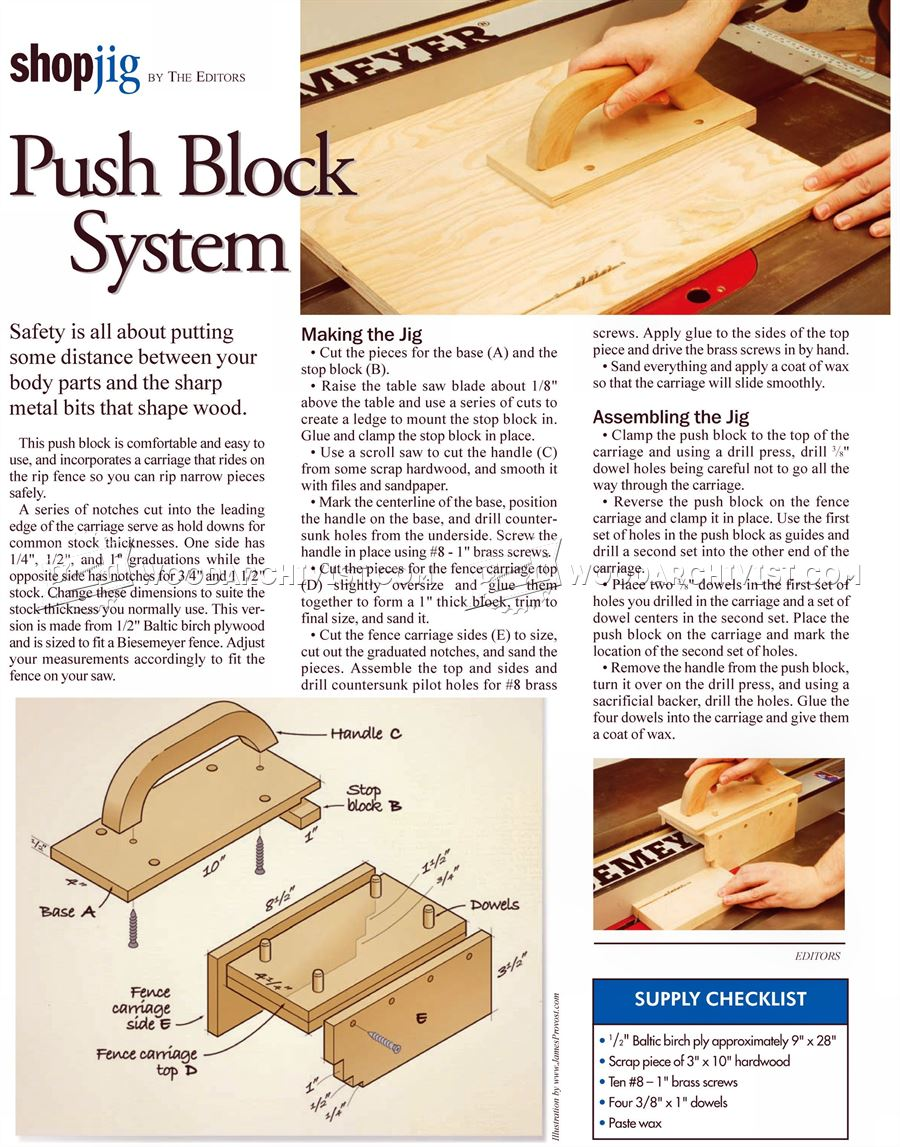 Table Saw Push Block System
