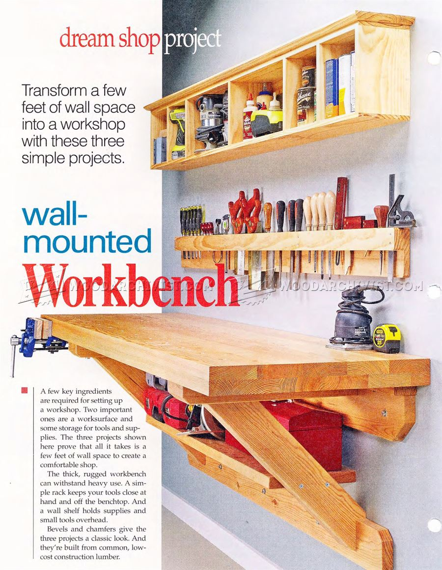 garage door molding ideas - Wall Mounted Workbench Plans • WoodArchivist