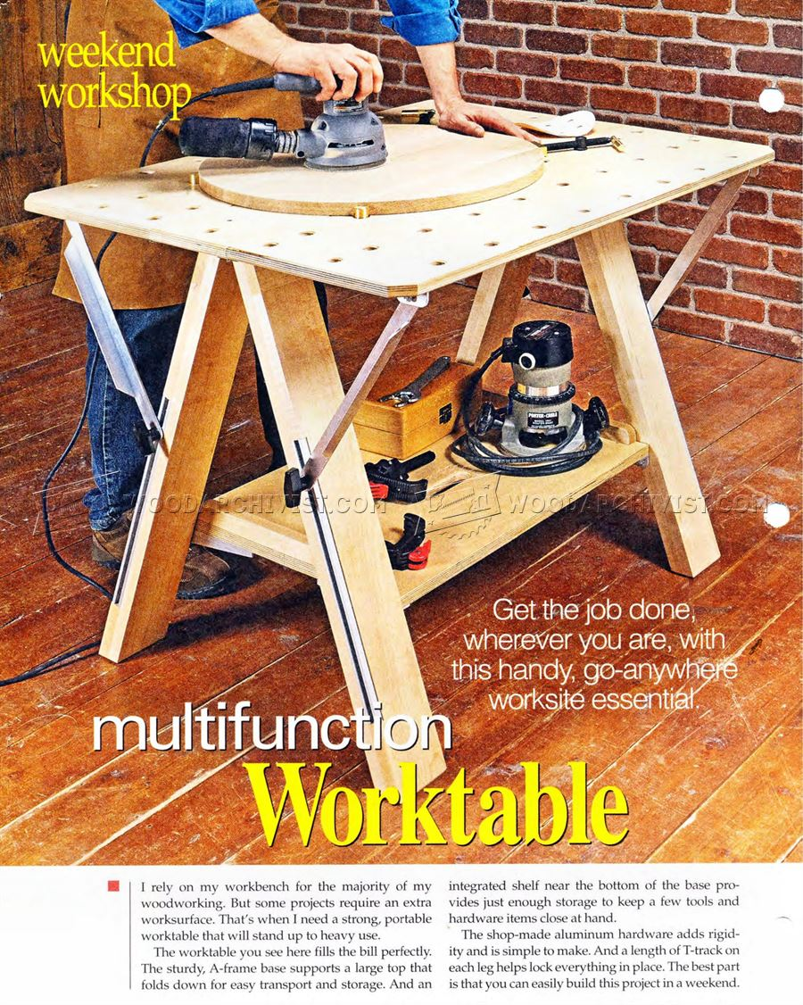 folding work table plans woodarchivist
