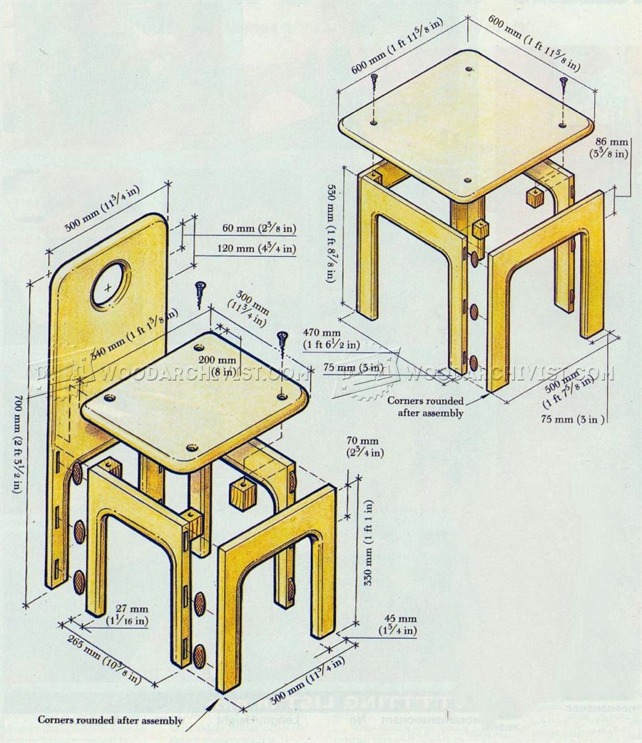 2123 Kids Table and Chair Plans - Children's Furniture Plans