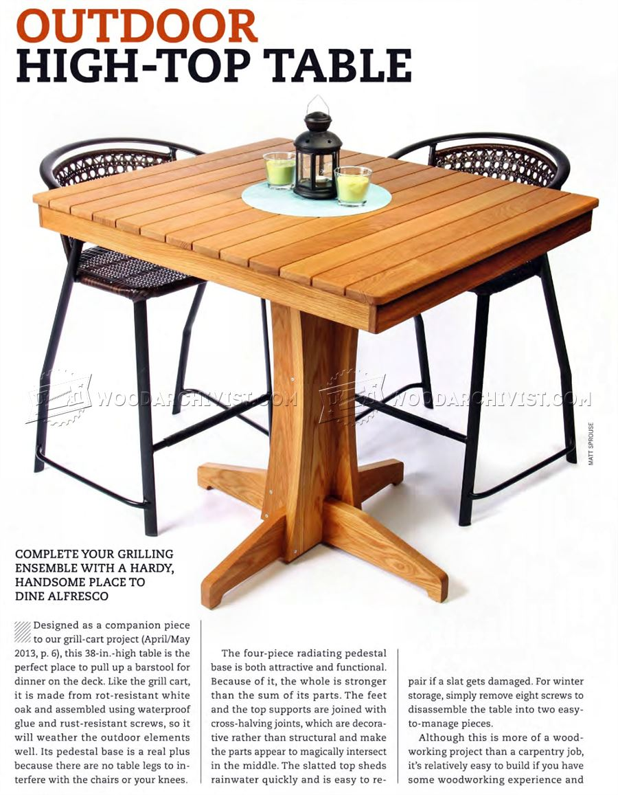 outdoor high top table plans woodarchivist
