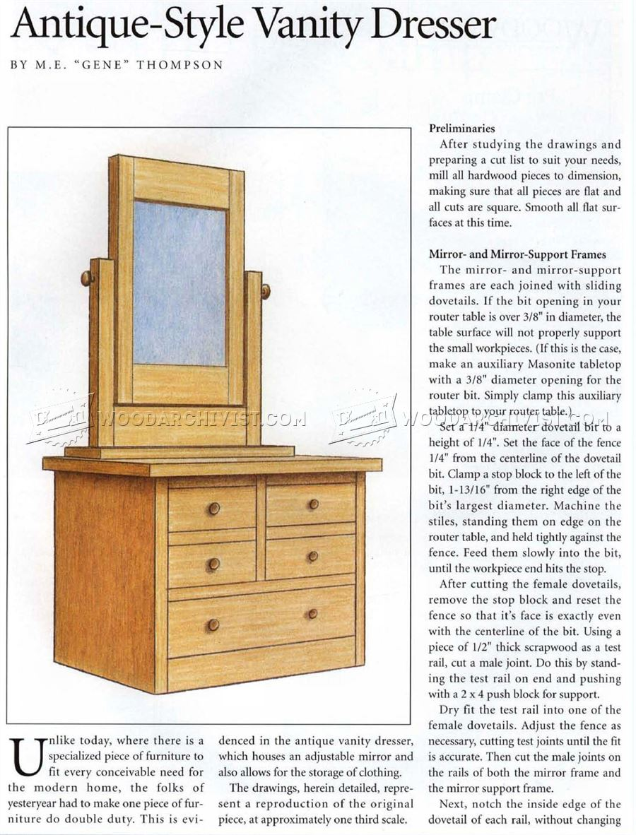 Vanity Dresser Plans Woodarchivist