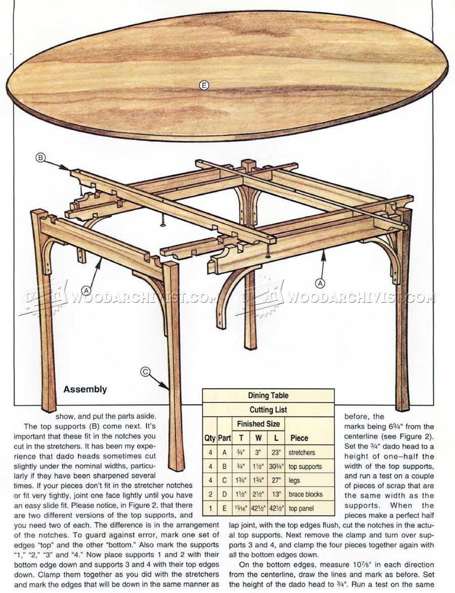 Simple dining table plans woodarchivist for Breakfast table plans