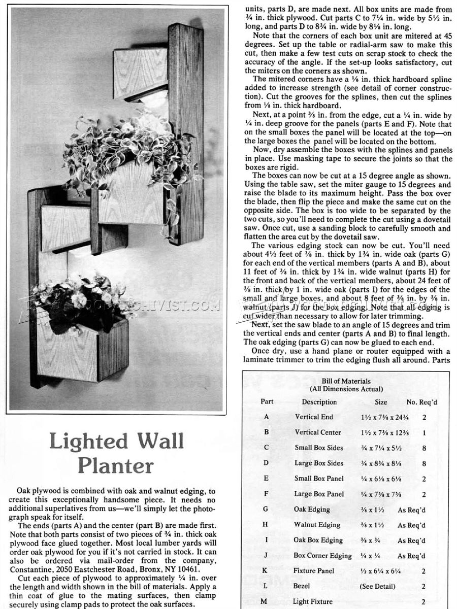 Lighted Wall Planter Plans