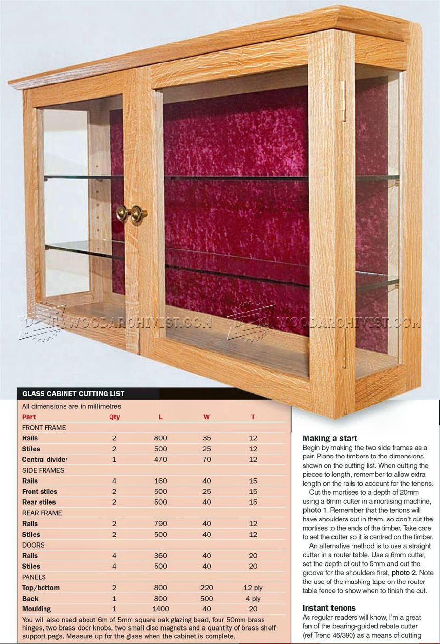 Wall Display Cabinet Plans