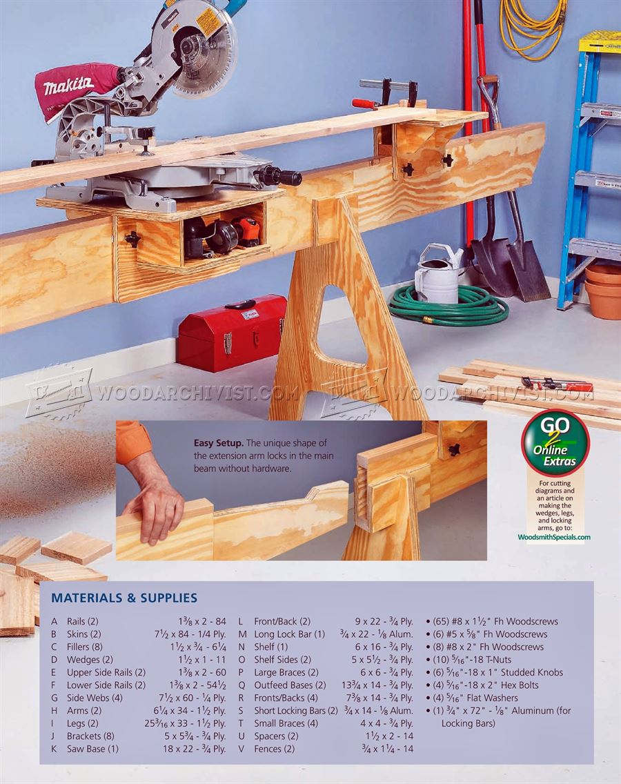 Folding Miter Saw Stand Plans