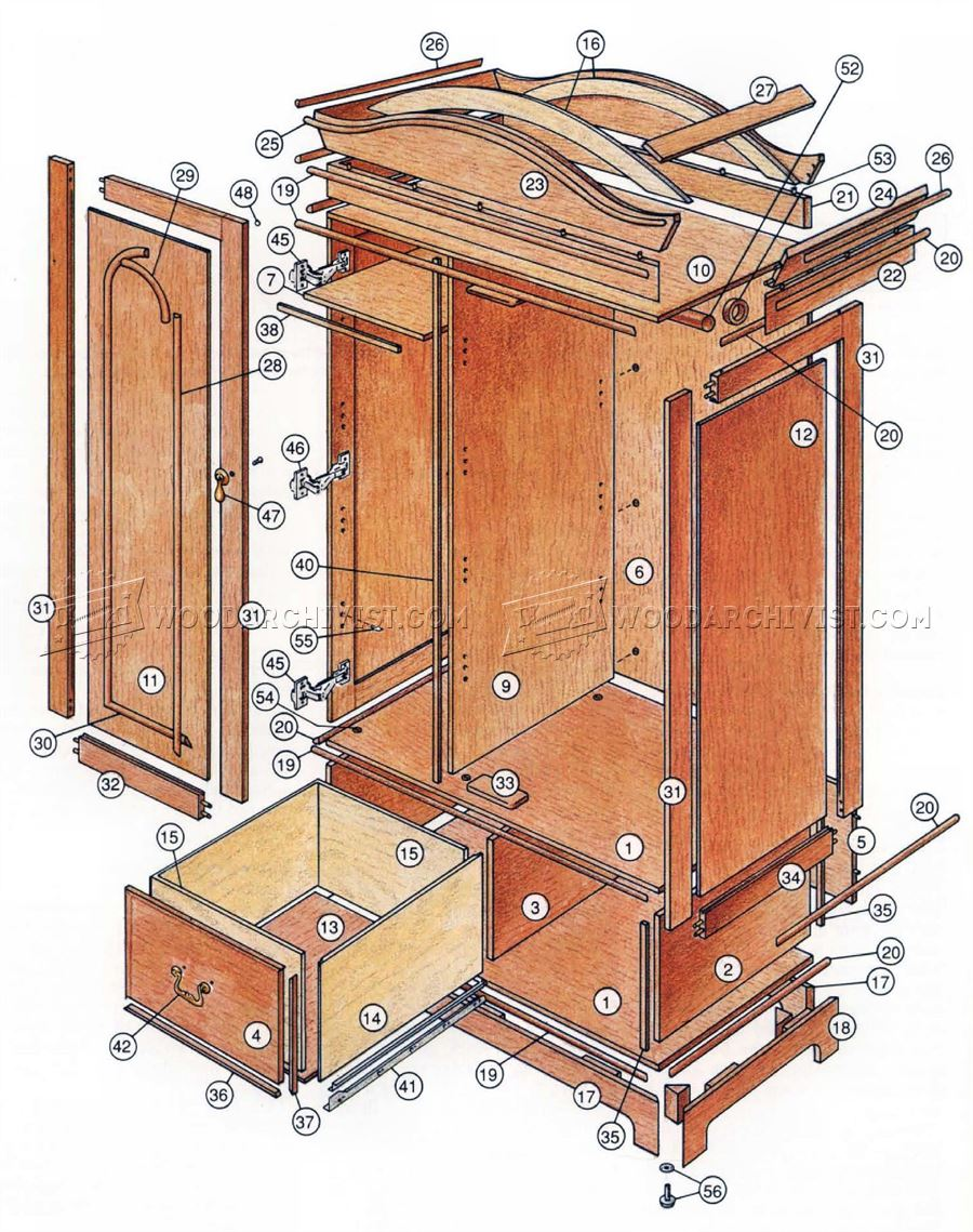 Classic armoire plans woodarchivist for Wardrobe cabinet design woodworking plans