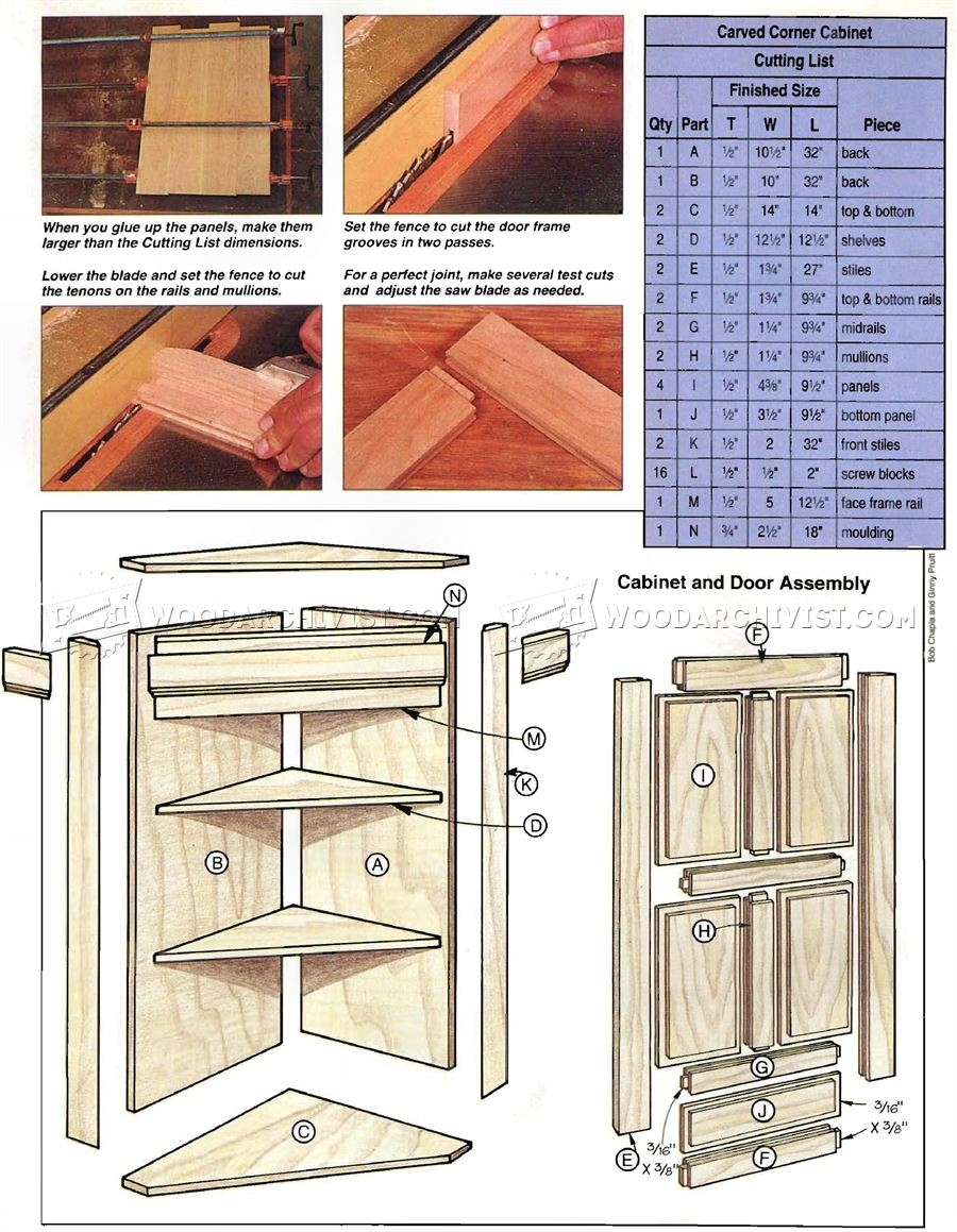Carved Corner Cabinet Plans Woodarchivist