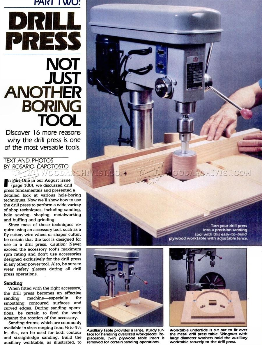 Drill Press Drum Sander Table Plan
