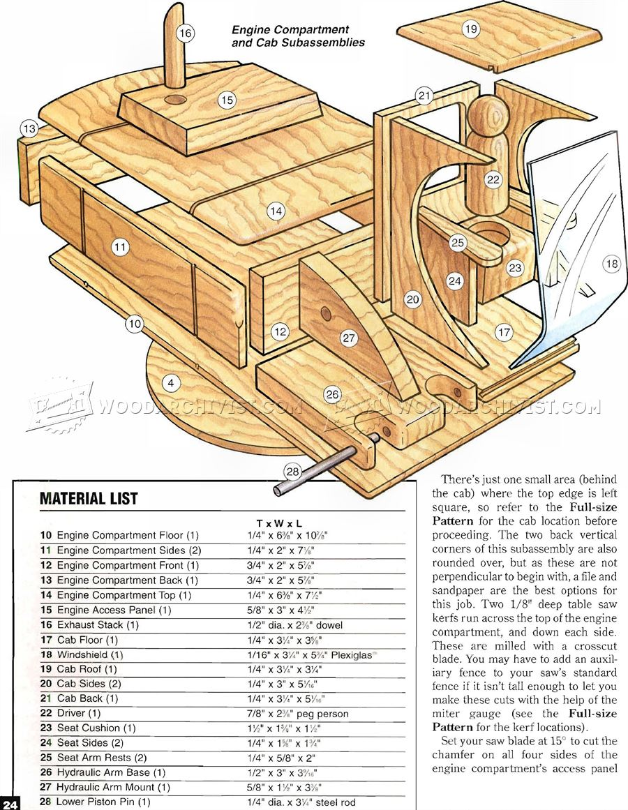 Wooden Toy Digger Plans