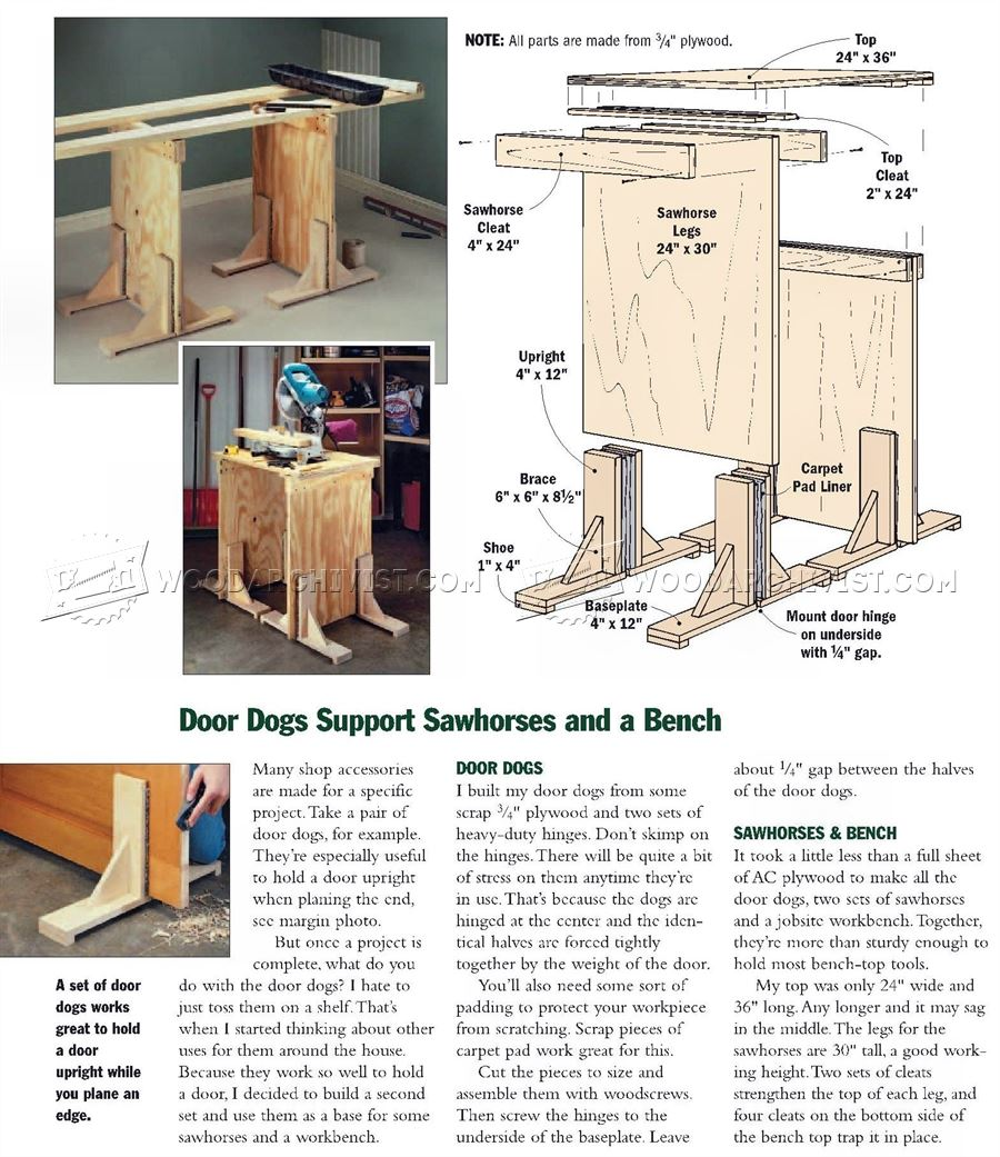 #2259 Door Dogs Support Sawhorses and Bench