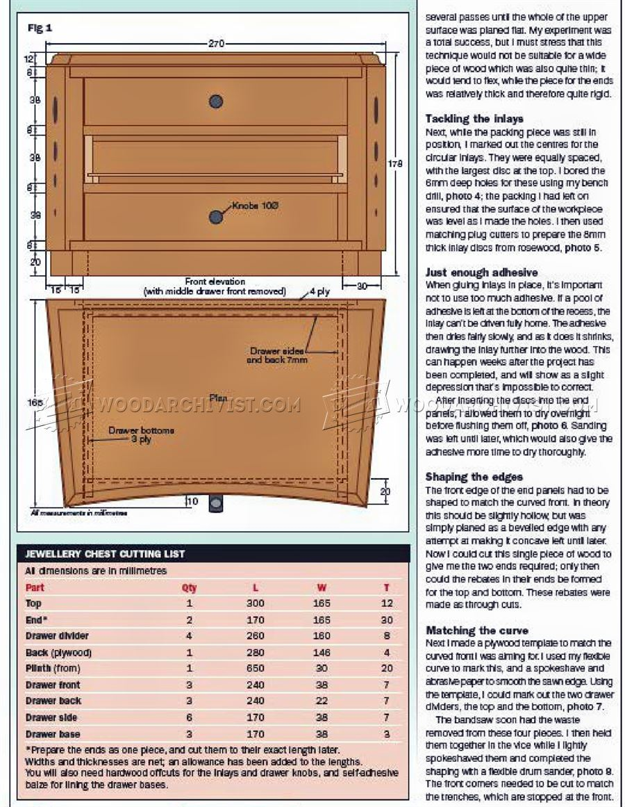 Jewelry Chest Plans
