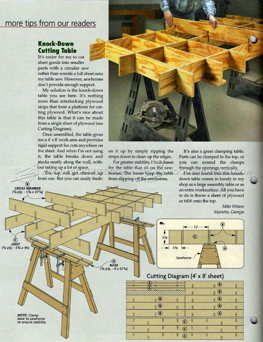 #2283 Plywood Cutting Table Plan