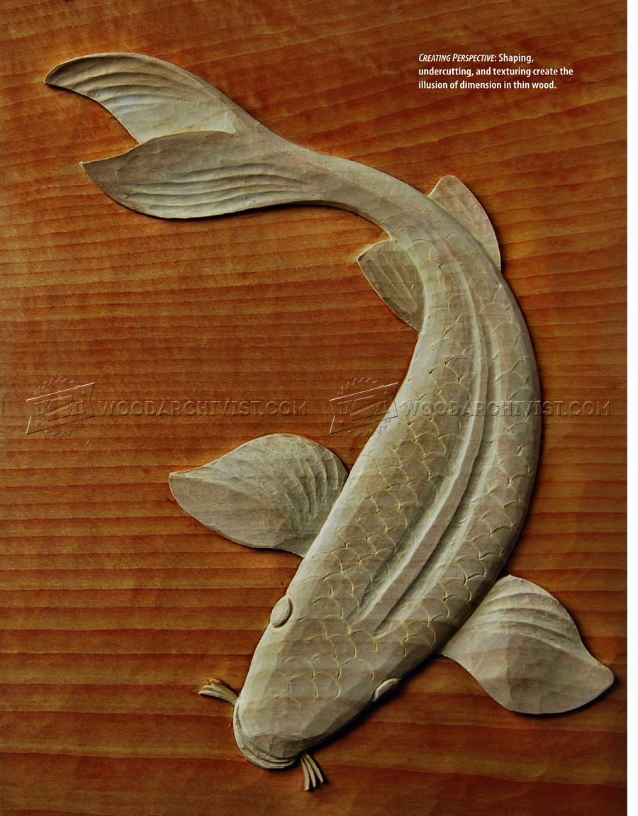 Carving Koi Carp - Relief Wood Carving