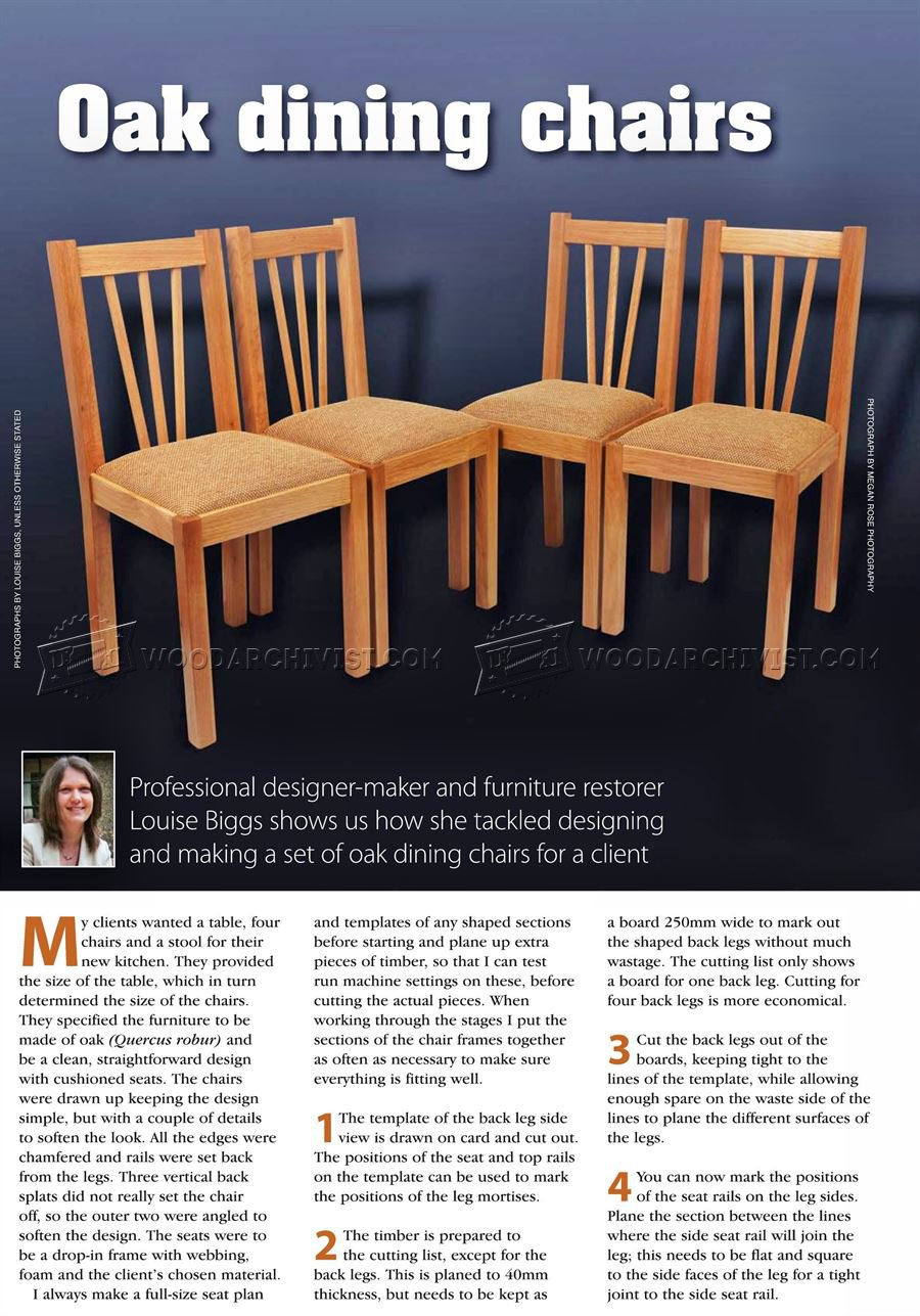 Oak dining chair plans woodarchivist for Free dining chair plans