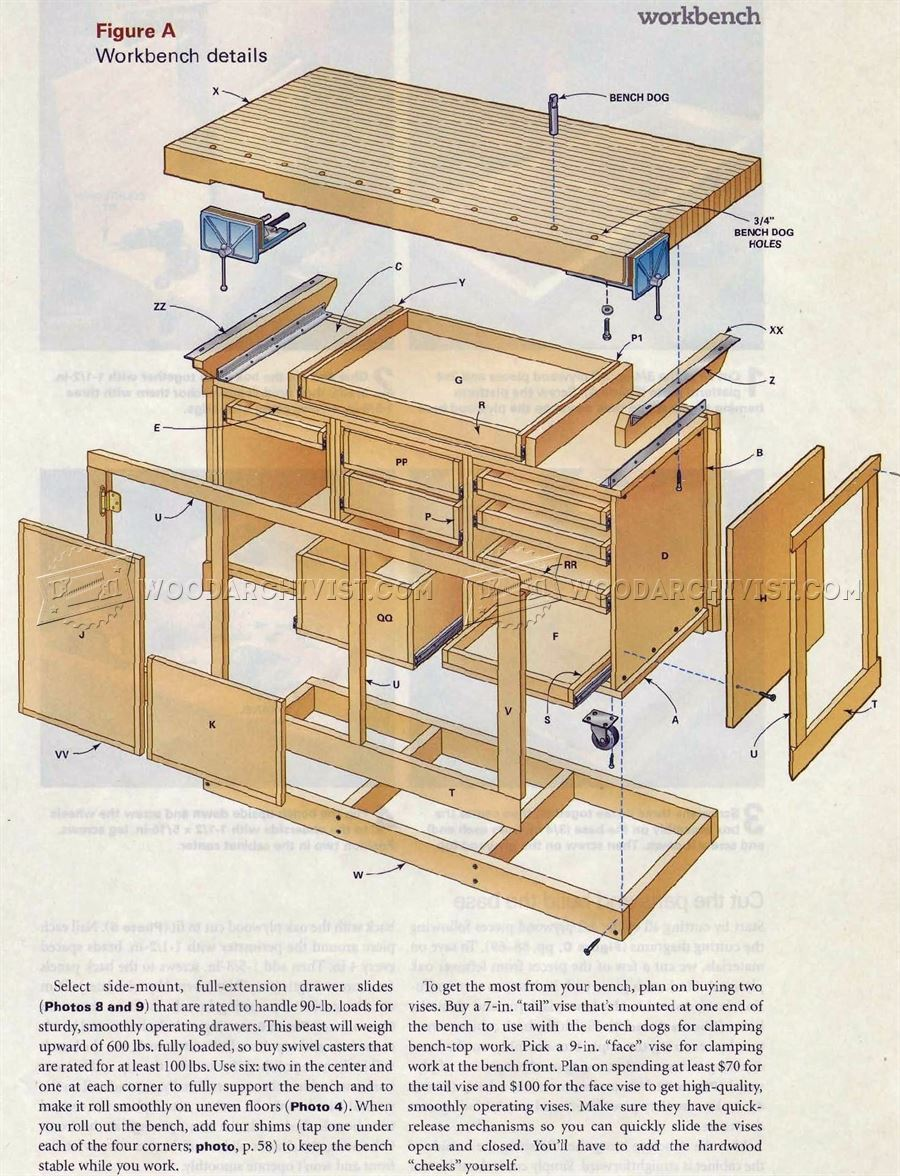 Blueprints For A Modern Four Bedroom Home: Rock-Solid Workbench Plans • WoodArchivist