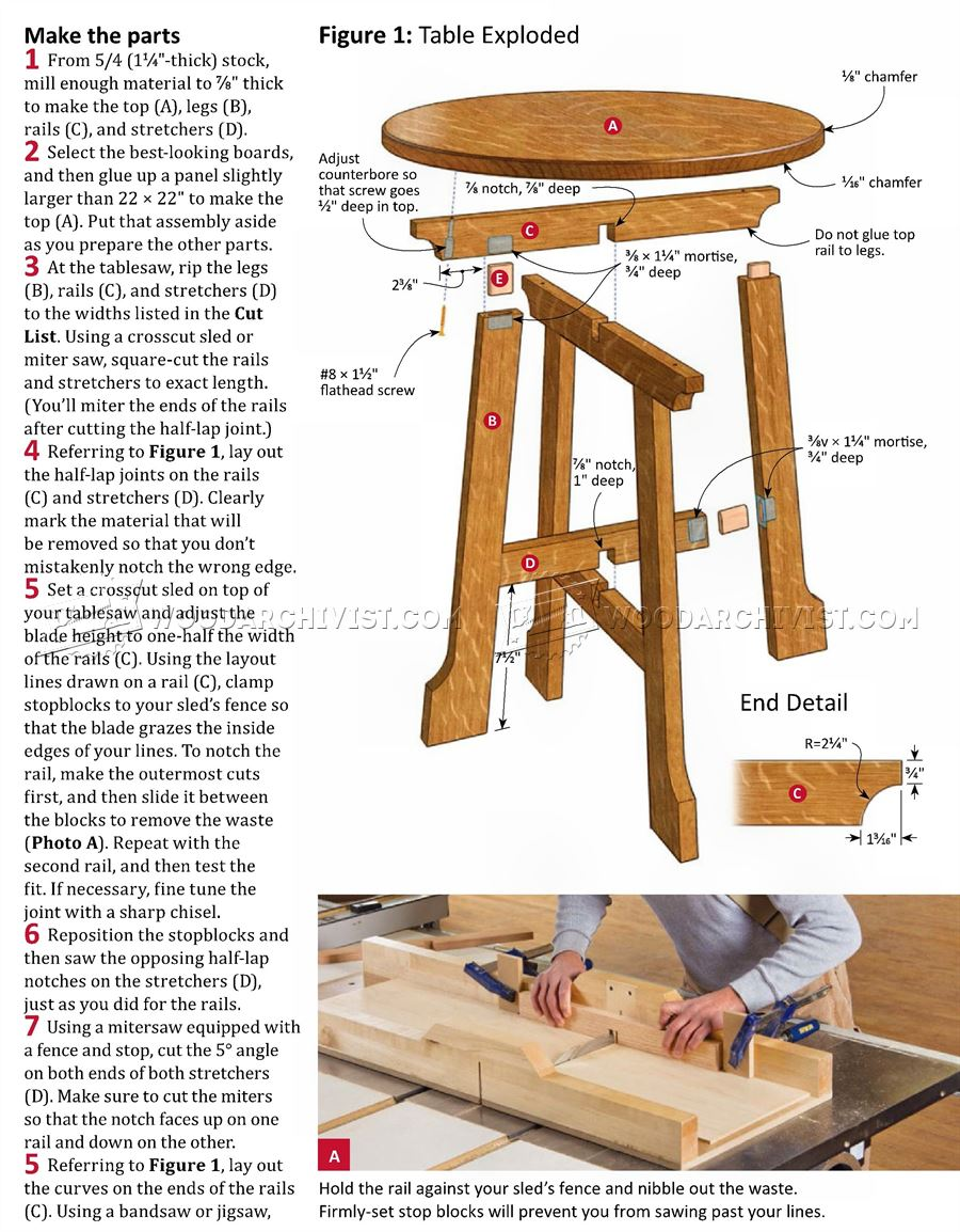 Arts and Crafts End Table Plans