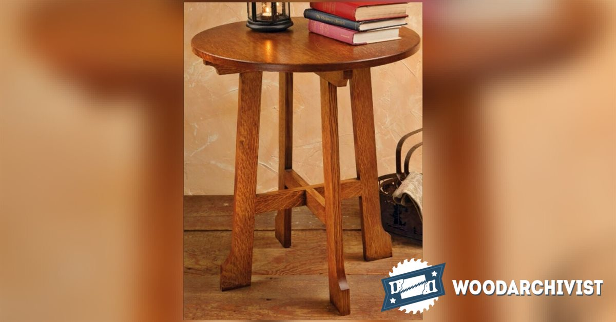 Arts and crafts end table plans woodarchivist for Arts and crafts side table