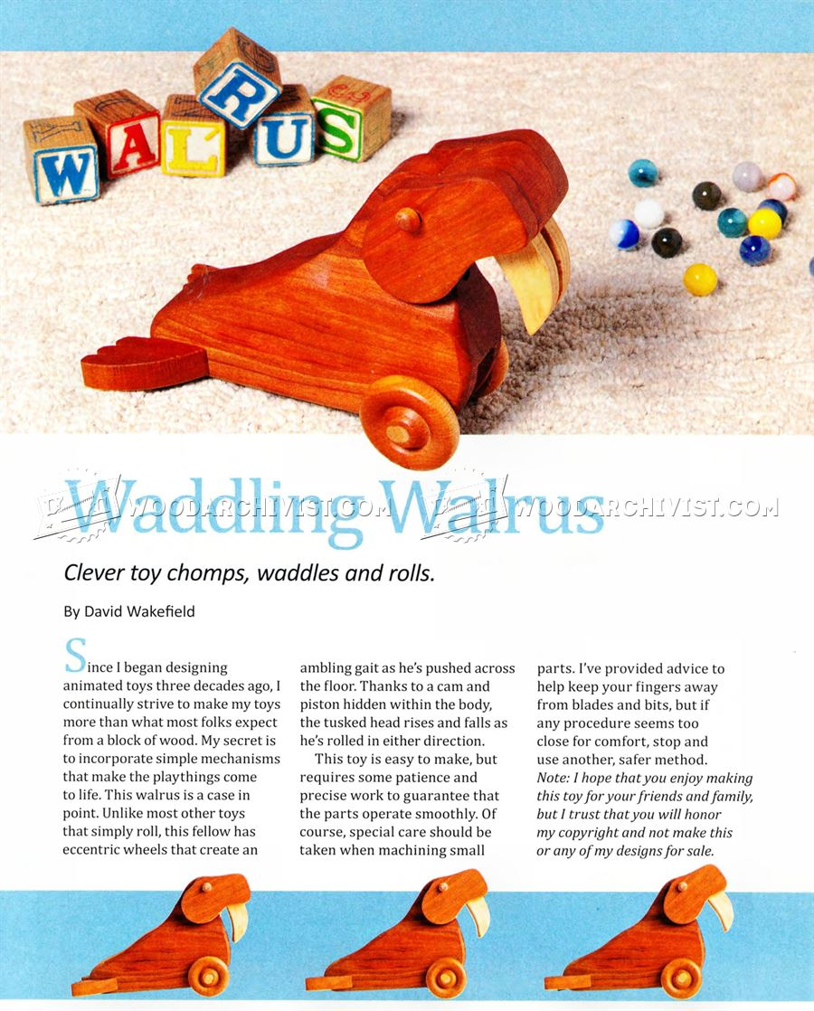 Waddling Walrus Pull Toy Plans