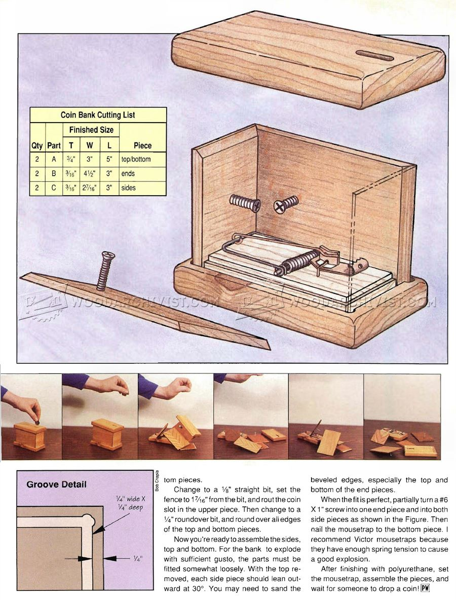 Exploding Coin Bank Plans - Woodworking Plans