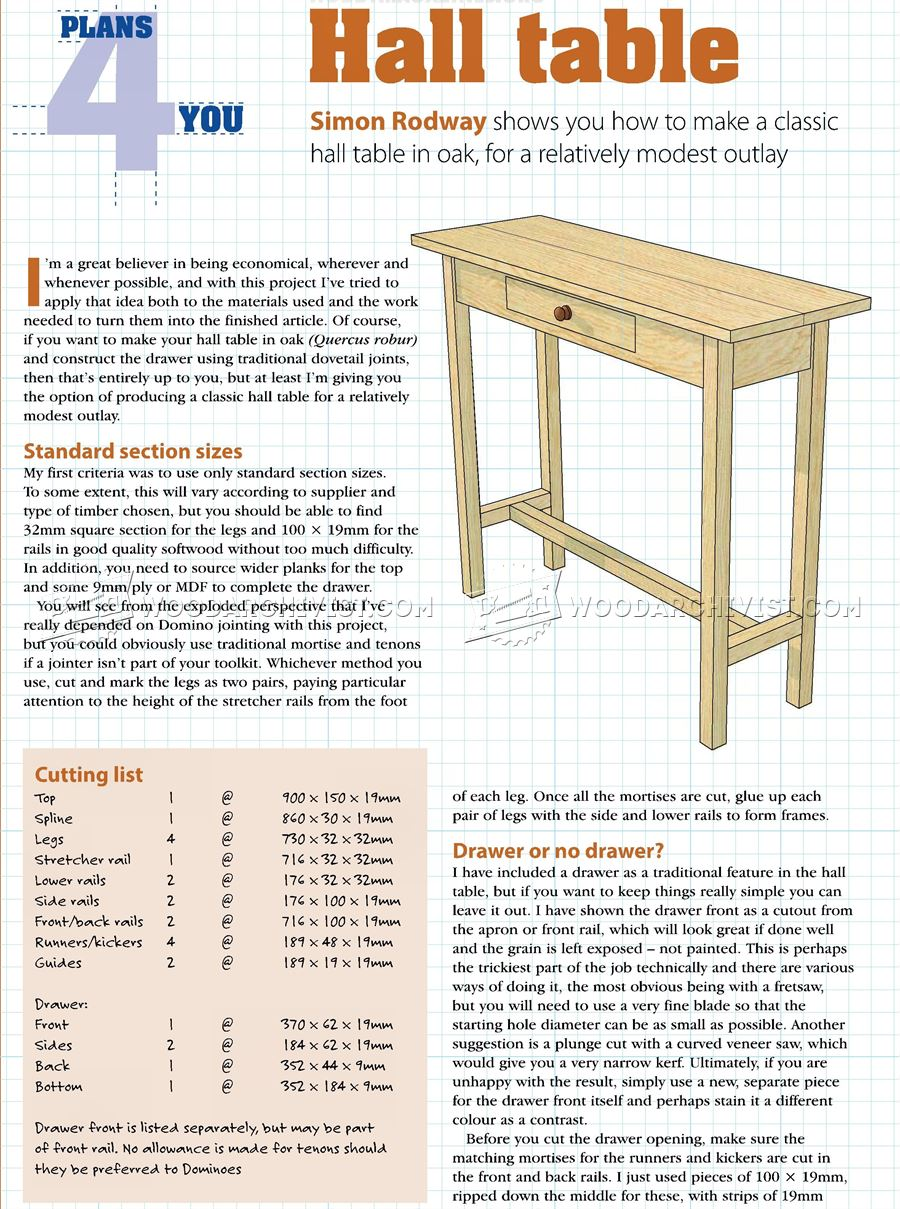 Hall Table Plans