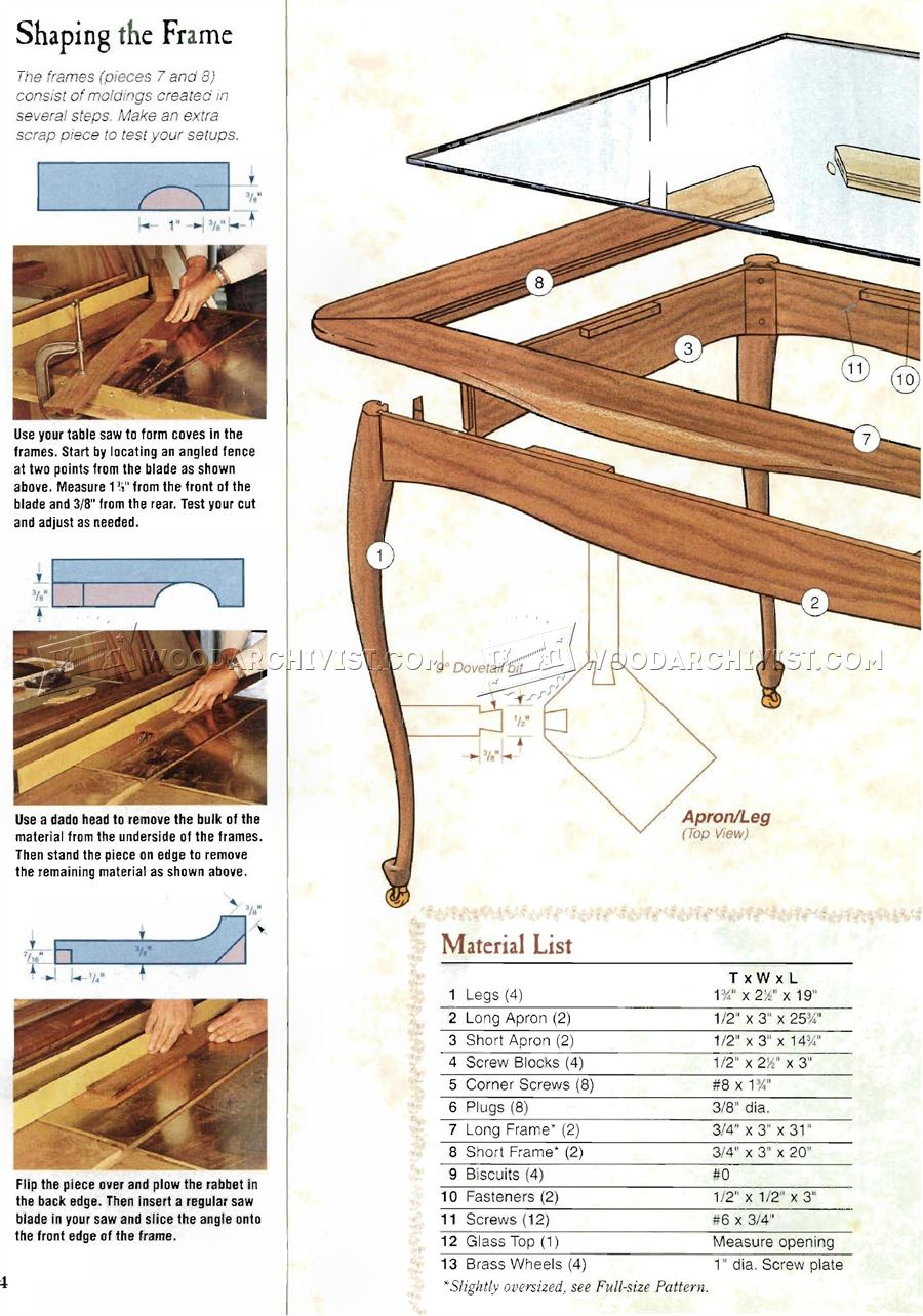 Rolling Tea Table Plans
