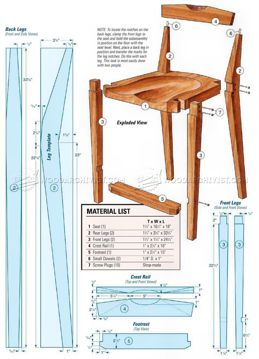 Kitchen Chair Plans Woodarchivist