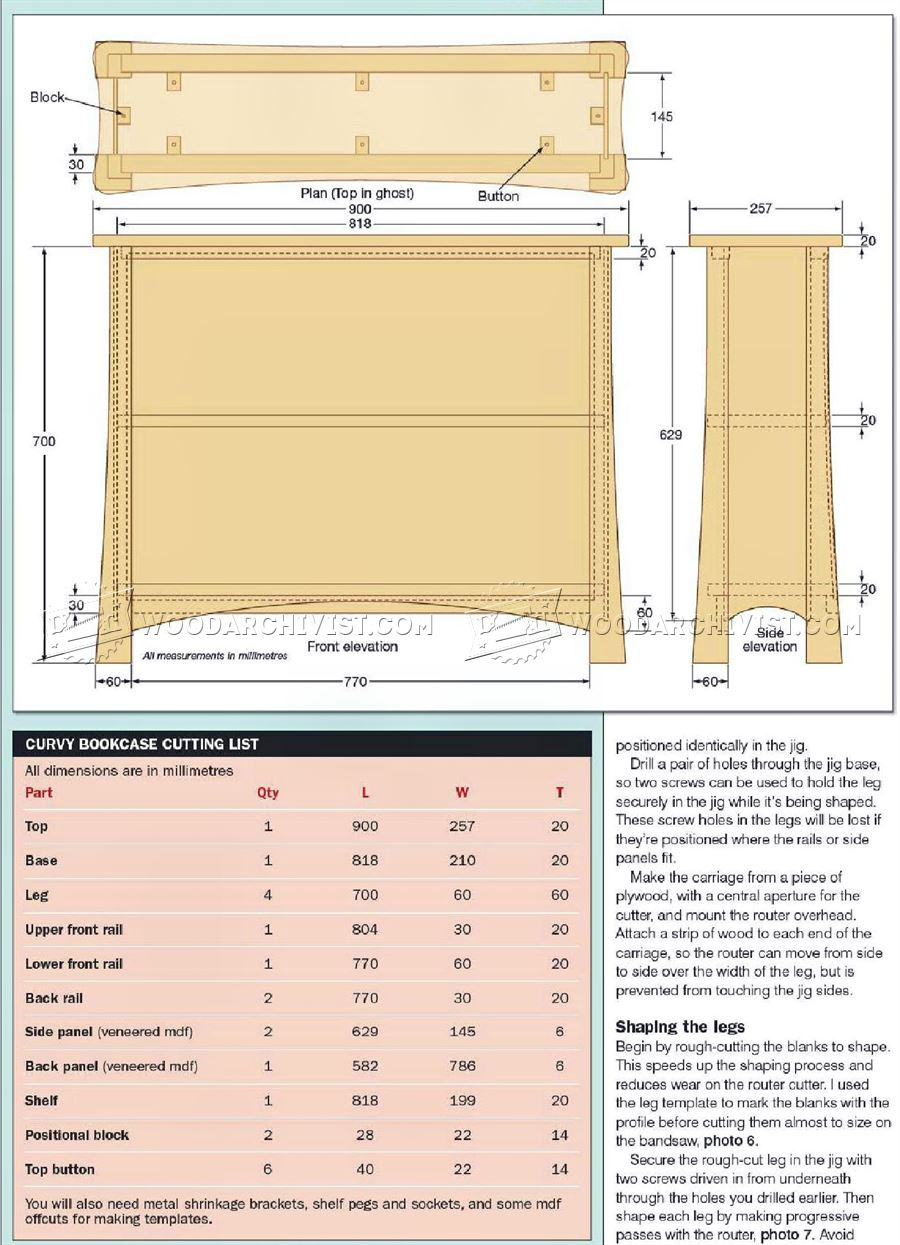 Curvy Bookcase Plans