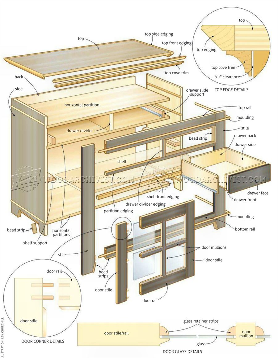 Glazed sideboard plans woodarchivist