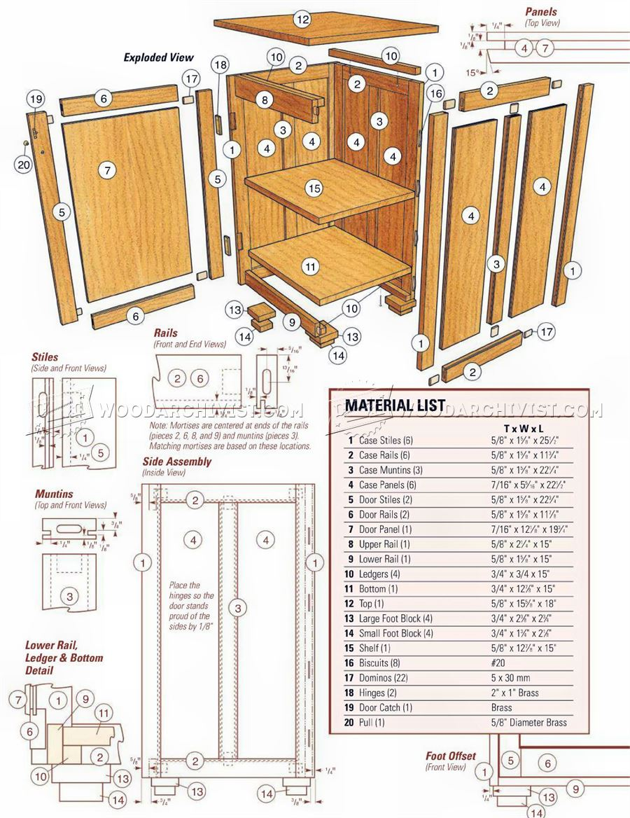 bedside cabinet plans woodarchivist