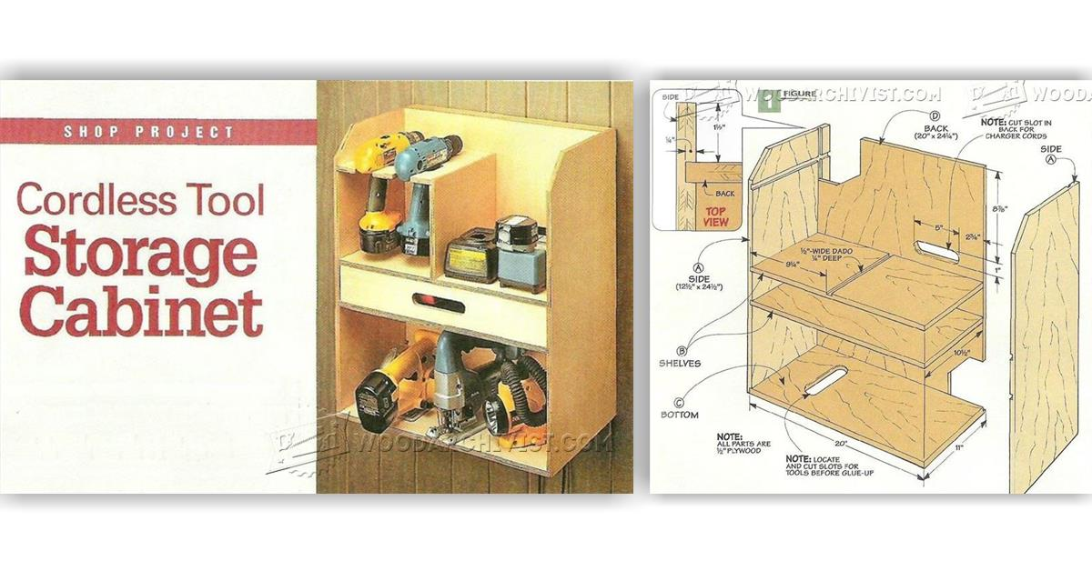 Cordless Tool Storage Cabinet Plans • WoodArchivist